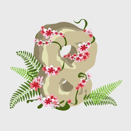 eighth: Symbol of the holiday Eighth of March, digit 8 of stone with flowers
