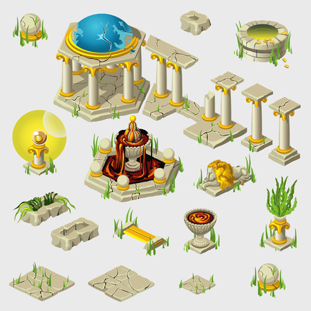 ancient civilization: Big set of decoration of ancient buildings, tiles, sculptures
