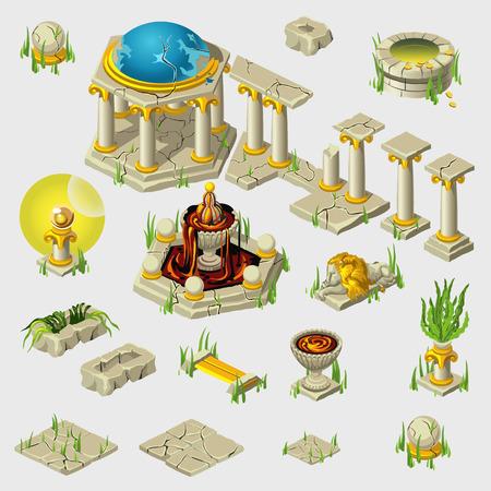 sculptures: Big set of decoration of ancient buildings, tiles, sculptures