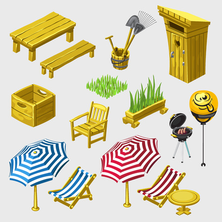 a toilet stool: Big vector set of wooden furniture for picnic and recreation