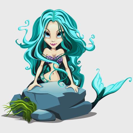 ojos negros: sirena linda con el pelo largo azul detrás de una roca, personaje de dibujos animados