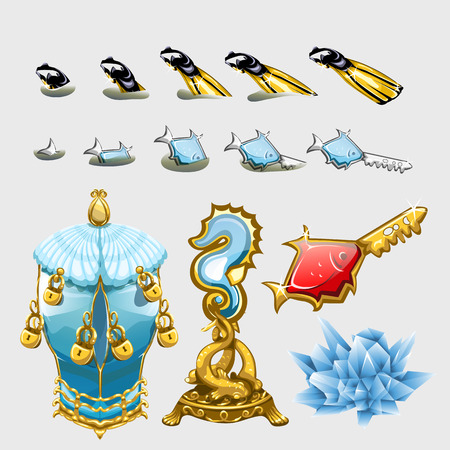 underwater fishes: Marine set, fishes with keys, divers fins and underwater treasures Illustration