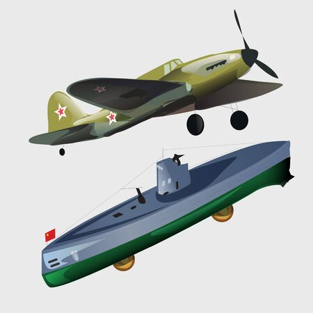 military aircraft: Military aircraft and submarine, two types of transport