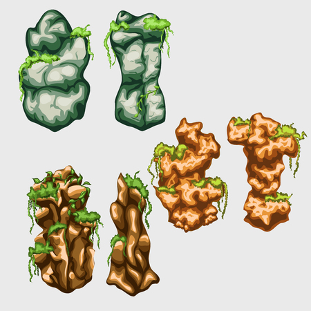 polyp: Green and yellow underwater rocks with seaweed, vector series