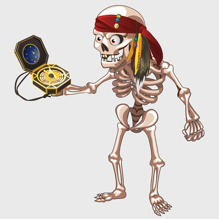 freebooter: Skeleton pirate with bandage holding ancient compass Illustration