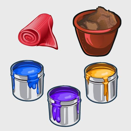 mending: Three color interior paint, tissue roll and pot, vector set images