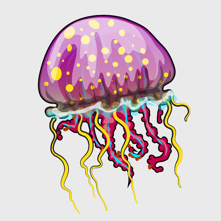 series: Spotted a pink jellyfish in cartoon style, marine series illustrations Illustration