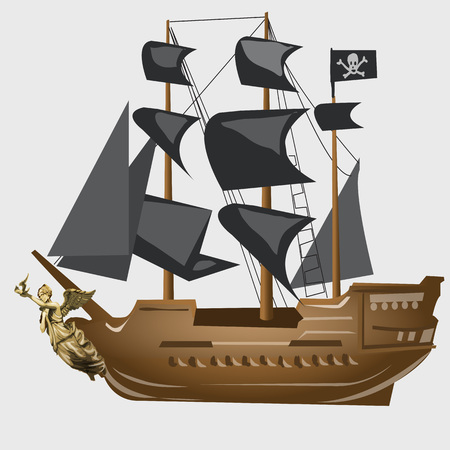 adventure story: Ancient pirate ship with black sails and flag, vector image