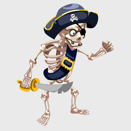 freebooter: Skeleton pirate with belt and sharp sword, vector cartoon character Illustration
