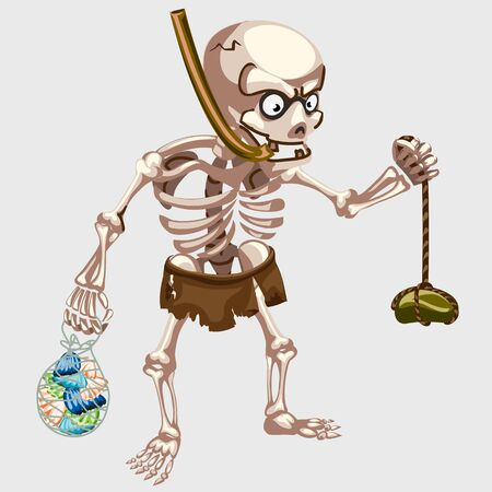 freebooter: Skeleton is hunting with the catch, cartoon character Illustration