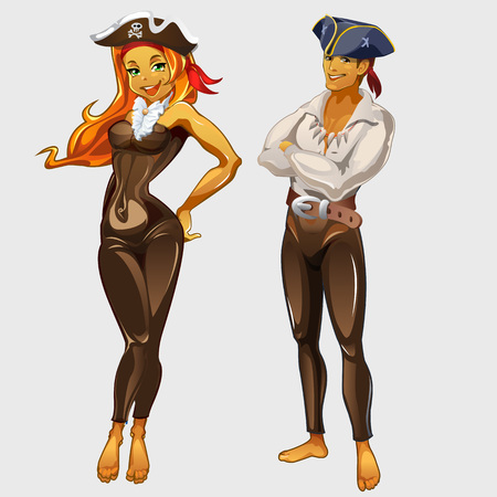 Girl pirate and a man captain, two cartoon characters
