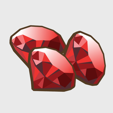 ruby: Three stone ruby closeup, for gaming interface and other designs