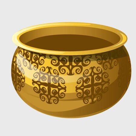 golden pot: Golden pot with pattern in ancient style, vector isolated