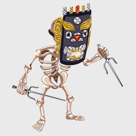mesoamerican: Skeleton in Ancient mask with daggers, image for gaming interface and other designs