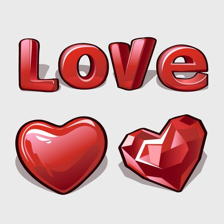 ruby: Heart, ruby and word love, romantic collection, three vector image