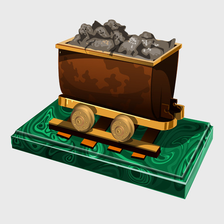 ore: Figure truck with ore, symbolic gift to the miner, vector image Illustration