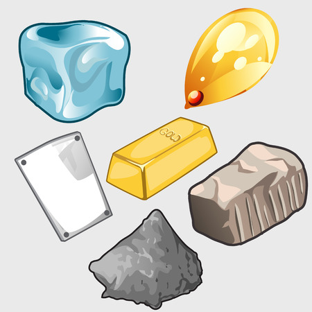 ore: Vector set of six icons of gold, ore and other materials