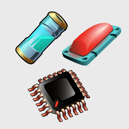 Microchip, red button and bulb with liquid, machine set Illustration