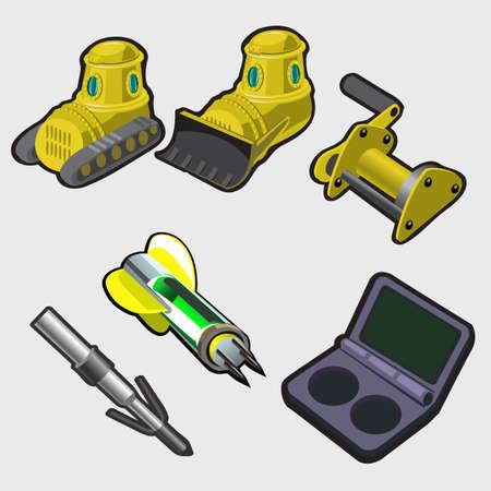 maquinaria pesada: equipos de maquinaria pesada, excavadora y claves de inicio