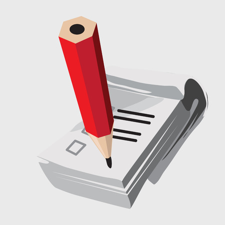 red pencil: Notebook with red pencil, icon vector closeup