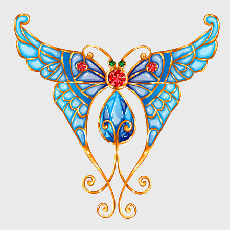 enamel: Gold butterfly with blue enamel wings and precious stones