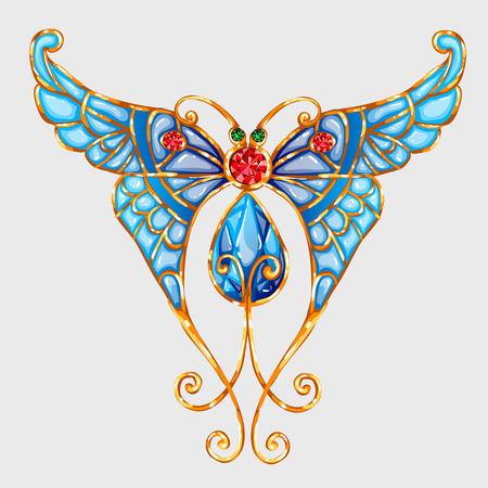 piedras preciosas: mariposa del oro con las alas azules de esmalte y piedras preciosas Vectores