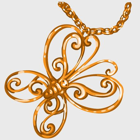 jeweller: Golden butterfly pendant on a chain, jeweller for your design needs