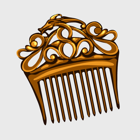comb hair: Vintage wooden comb for hair, single vector isolated Illustration