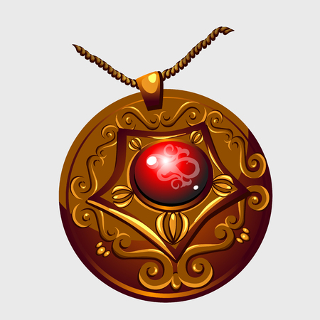 Ancient Golden amulet pendant with red stone, vector isolated