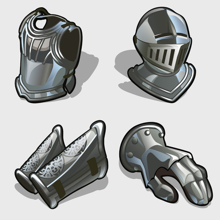 four elements: Cuatro elementos de la armadura de los caballeros, coraza, casco, guantes y protecci�n para los pies