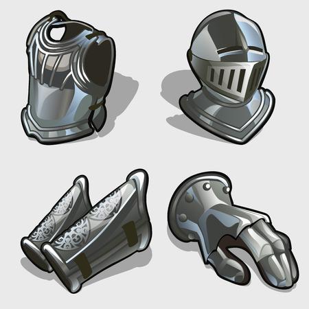 Vier Elemente der Ritterrüstung, Brustpanzer, Helm, Handschuhe und Schutz für die Füße Vektorgrafik