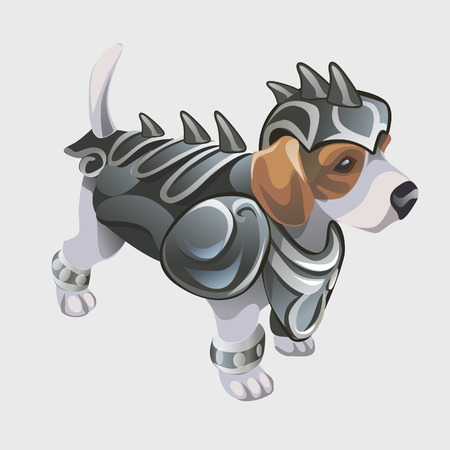 Dog warrior in knights armor, cartoon vector animal series Illustration