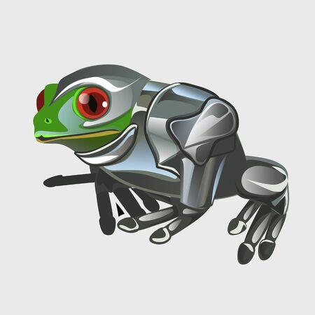 croaking: Frog warrior in knights armor, cartoon vector animal series