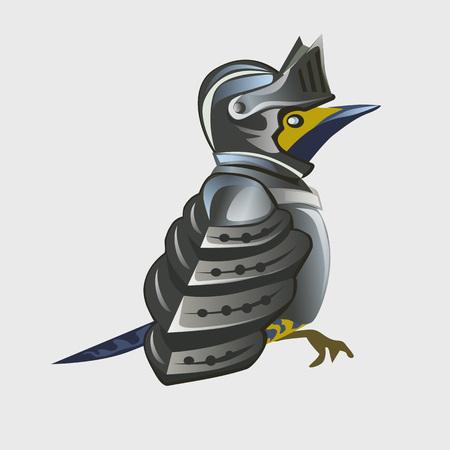 chivalry: Bird warrior in knights armor, cartoon vector animal series