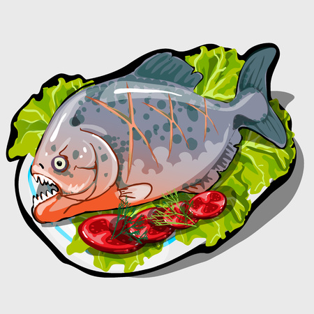 anchovy: Dish with cooked fish and vegetables, icon closeup for menu, website design, and other design needs