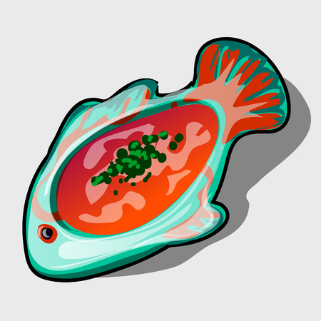 anchovy: Dish in the shape of fish with tomato soup, icon closeup for menu, website design, and other design needs Illustration