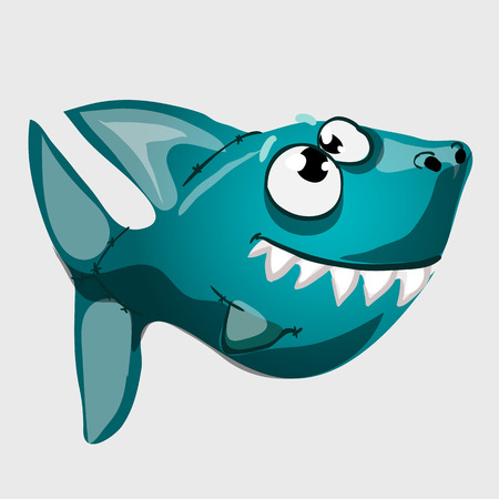 blue fish: Cute toothy blue fish shark with big eyes, vector icon Illustration