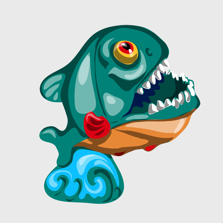 toothy: Toothy figure shark with open mouth, vector icon