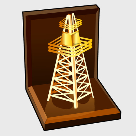 cellular repeater: Golden figure electric tower in gift box, vector image Illustration