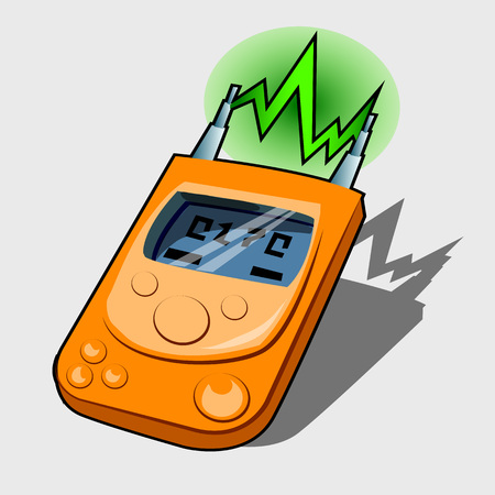 frequencies: Device for measuring radio waves and frequencies, cartoon tool Illustration