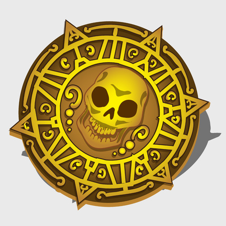 sea robber: Golden pirate medallion with symbol of the skull and ornament Illustration