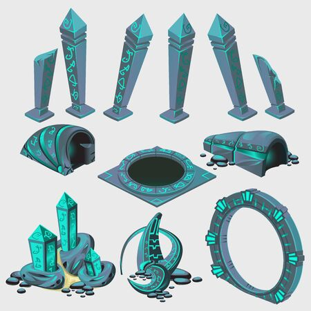 tunnel portals: Part of portal with runes, game elements from sci-Fi series