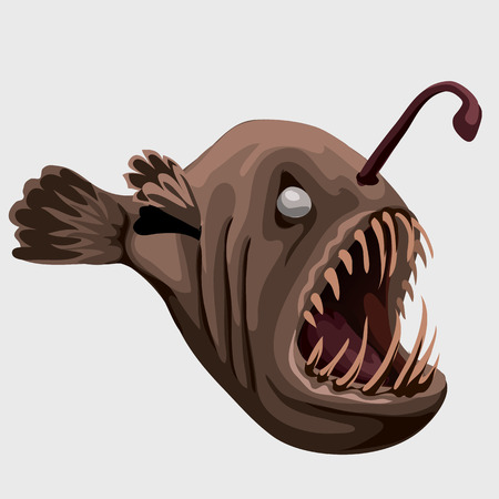 disgusting animal: Flat toothy fish lamp, character or icon for your design needs