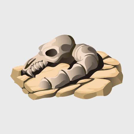 Fossil skeleton of an ancient animal on the stone Ilustração