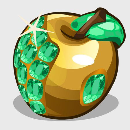 adam eve: Golden apple with emerald stones, symbol of abundance Illustration