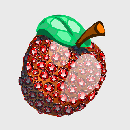 abundance: Red apple made of precious stones rubies, vector symbol of abundance and wealth