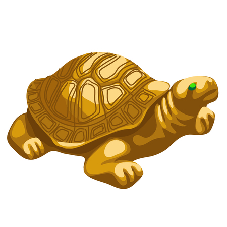 figurine: Golden turtle figurine with emerald eyes, vector isolated icon