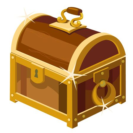 Closed antique chest of wood and gold, cartoon style illustration