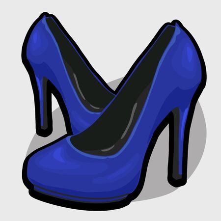 blue shoes: Blue evening shoes with high heel. Stylish womens shoes Illustration