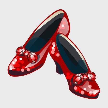 Czerwone buty z kokardą wykonane z rubinów. Stylowe damskie buty Ilustracje wektorowe